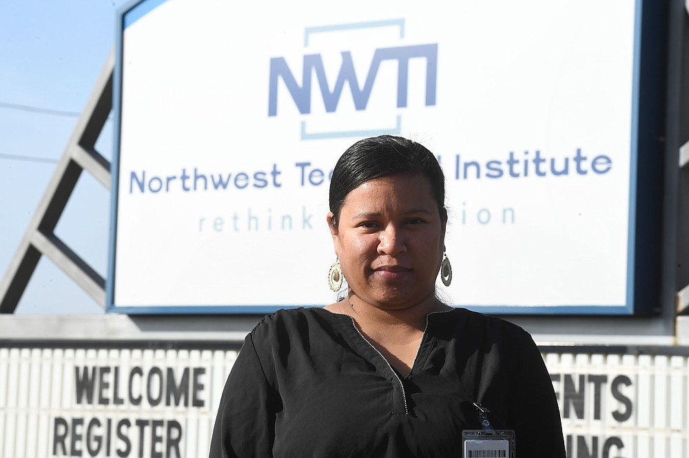Verginia Abo (CQ) is one of the first Marshallese students to enroll in Northwest Technical Institute's Practical Nursing Program.  Her mother died of covid-19 and was part of her inspiration for enrolling in the program.(NWA Democrat-Gazette/J.T. Wampler