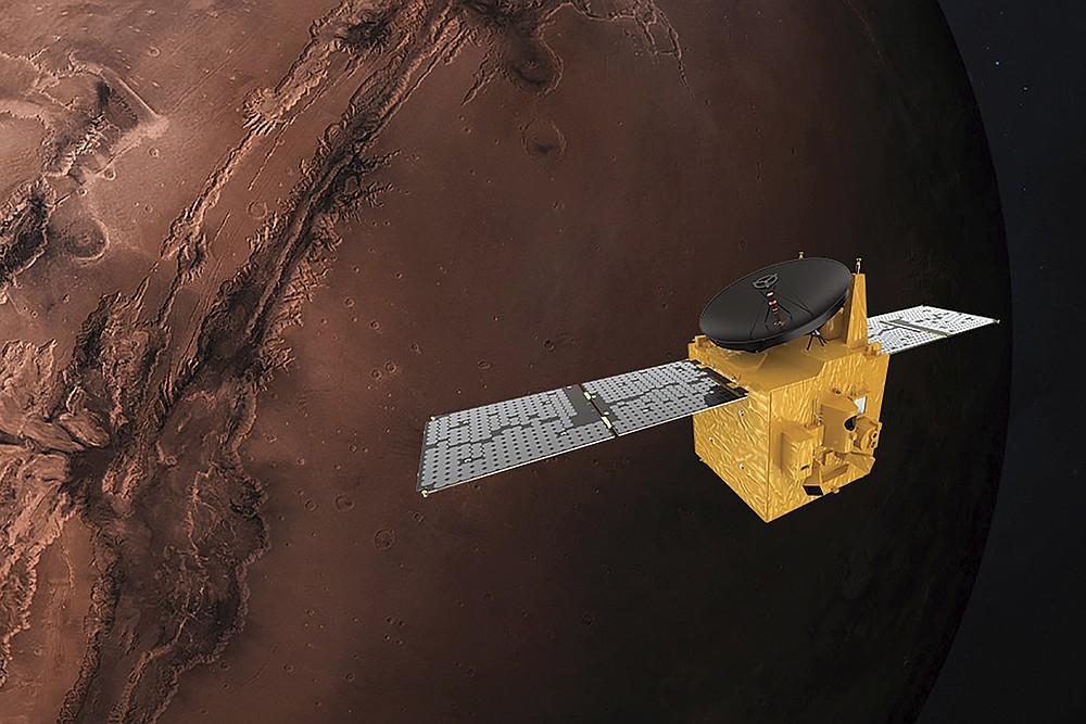 FILE - This June 1, 2020 illustration provided by Mohammed Bin Rashid Space Centre depicts the United Arab Emirates' Hope Mars probe. (Alexander McNabb/MBRSC via AP)