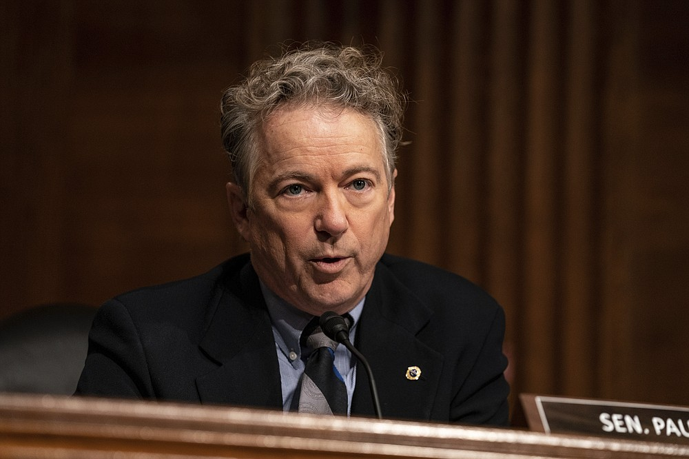 Sen. Rand Paul, R-Ky. speaks during a Senate Health, Education, Labor and Pensions Committee hearing on the nomination of Miguel Cardona to be education secretary on Capitol Hill, Wednesday, Feb. 3, 2021, in Washington. (Anna Moneymaker/The New York Times via AP, Pool)