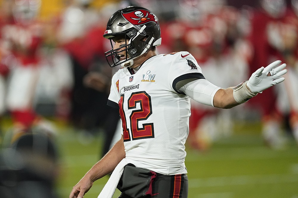 Tampa Bay Buccaneers quarterback Tom Brady reacts after getting stopped at the goal line against the Kansas City Chiefs during the first half of the NFL Super Bowl 55 football game Sunday, Feb. 7, 2021, in Tampa, Fla. (AP Photo/Ashley Landis)
