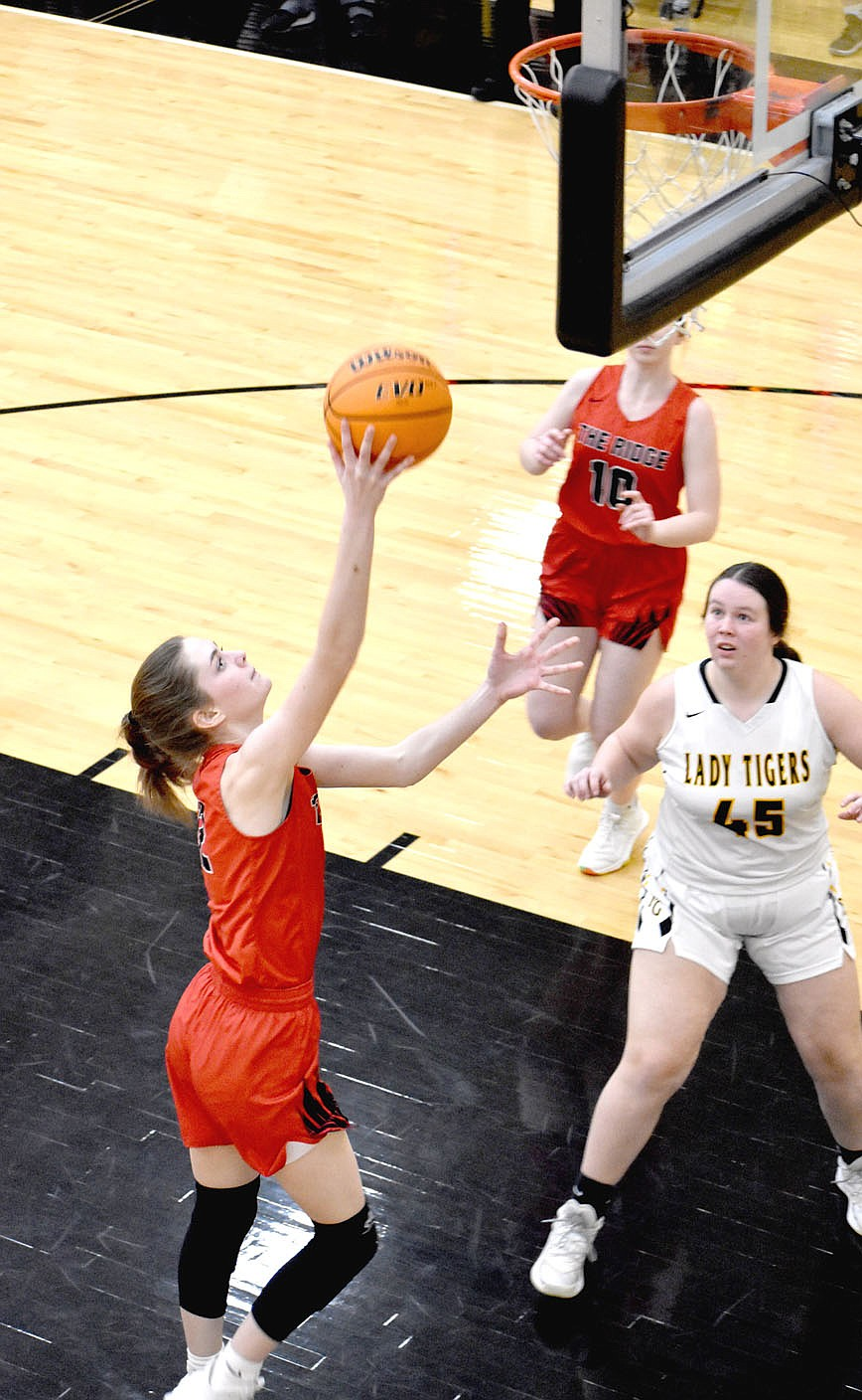 MARK HUMPHREY  ENTERPRISE-LEADER/Pea Ridge senior Aiden Dayberry scores a layup against Prairie Grove. Dayberry contributed 9 points in the Lady Blackhawks' 65-38 win in 4A-1 Conference girls basketball action at Tiger Arena on Tuesday, Feb. 9.