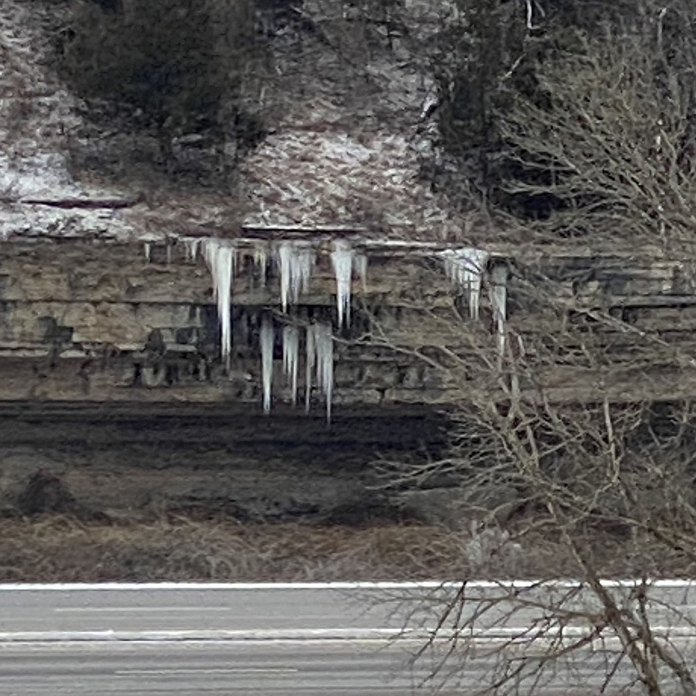 Terri O'Byrne/Weekly Vista Icicles line the roadway of highway 71 through Bella Vista. With temperatures below 32 degrees for the next week they are likely to remain for a while.