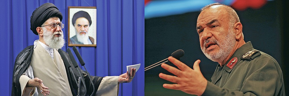 This combination of 2009 and 2018 file photos shows Iran's Supreme Leader Ayatollah Ali Khamenei, left, and the then-deputy commander of Iran's Revolutionary Guard Gen. Hossein Salami in Tehran, Iran. Khamenei was among the first and most powerful world leaders to suggest the coronavirus could be a biological weapon created by the U.S., while Salami declared on March 5, 2020 that Iran is currently engaged in a fight against a virus which might be the product of an American biological attack. (Meisam Hosseini/Hayat News Agency via AP, File; AP Photo/Vahid Salemi, File)