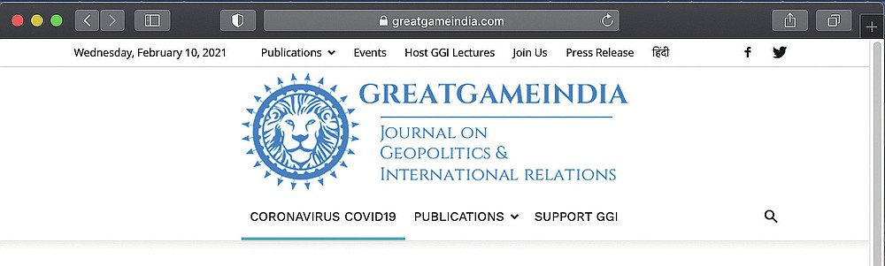 This Feb. 9, 2021 image shows the Great Game India website. Great Game India claims that the virus, which has killed more than 2 million people worldwide, was first found in the lungs of a Saudi man and then sent to labs in the Netherlands and then Canada, where it was stolen by Chinese scientists. (AP Photo)