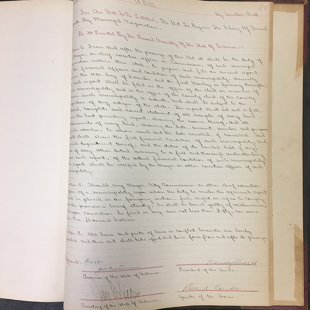 A volume from 1927 includes this bill introduced by Sen. Festus Orestes Butt. Convicted in a bribery scandal in 1906, Butt served part of his sentence, paid a fine and went home to Eureka Springs; he was re-elected to the Senate in 1927 and '29.  (Arkansas State Archives/David Ware)