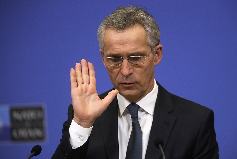 NATO Secretary General Jens Stoltenberg speaks during a media conference ahead of a NATO defense minister's meeting at NATO headquarters in Brussels, Monday, Feb. 15, 2021. (Olivier Hoslet, Pool via AP)
