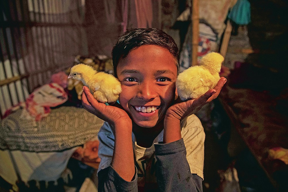"""Imradul Ali, 10, displays at his home baby chicks which he found at a landfill on the outskirts of Gauhati, India, Thursday, Feb. 4, 2021. Once school is done for the day, Ali, rushes home to change out of his uniform so that he can start his job as a scavenger in India's remote northeast. Coming from a family of scavengers or """"rag pickers,"""" Ali started doing it over a year ago to help his family make more money. Ali says he doesn't want to spend his life doing this, but he doesn't know what the future holds. (AP Photo/Anupam Nath)"""