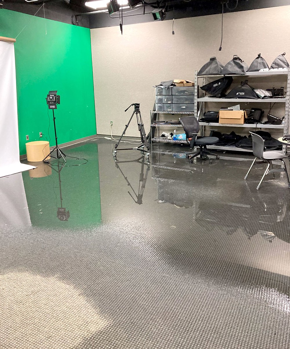 Photo submitted The art wing in the high school, including the film and television department's green room, was one of the first areas to flood.
