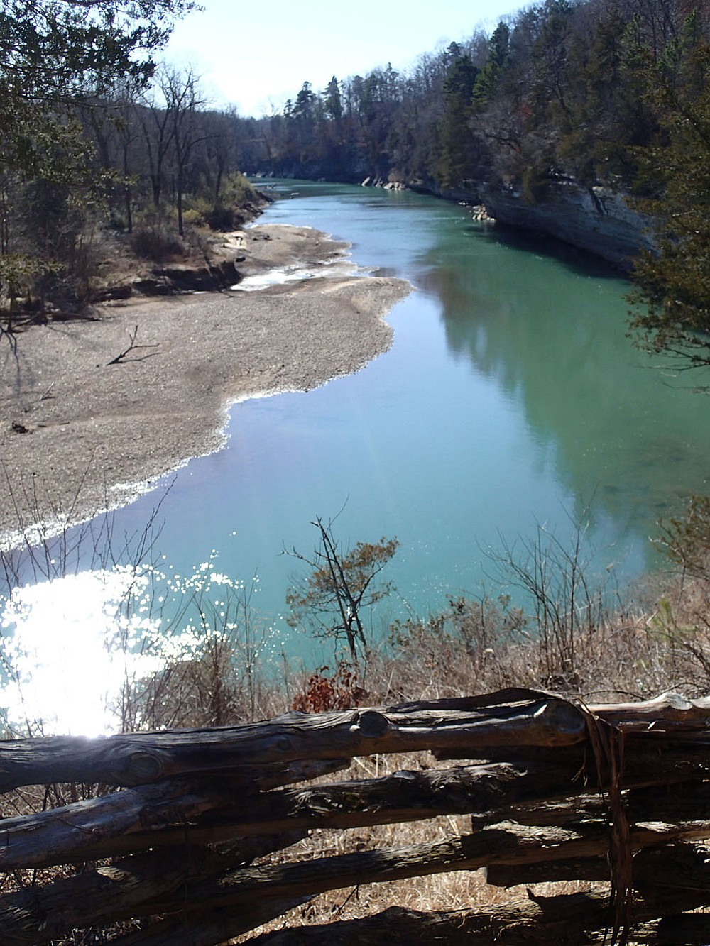 A high point of exploring the War Eagle Loop is a view of the War Eagle River from a bluff top. The overlook is about two miles downstream from War Eagle Mill. War Eagle Loop, at 6 miles, is part of the Hidden Diversity Multiuse Trail at Hobbs State Park Conservation Area. (NWA Democrat-Gazette/Flip Putthoff)