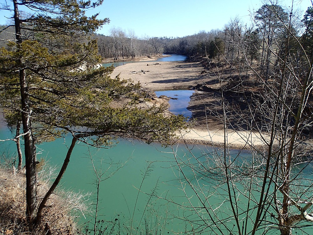 The view of the War Eagle River looking upstream from the trail. War Eagle Mill is about two miles upstream from the overlook. (NWA Democrat-Gazette/Flip Putthoff)