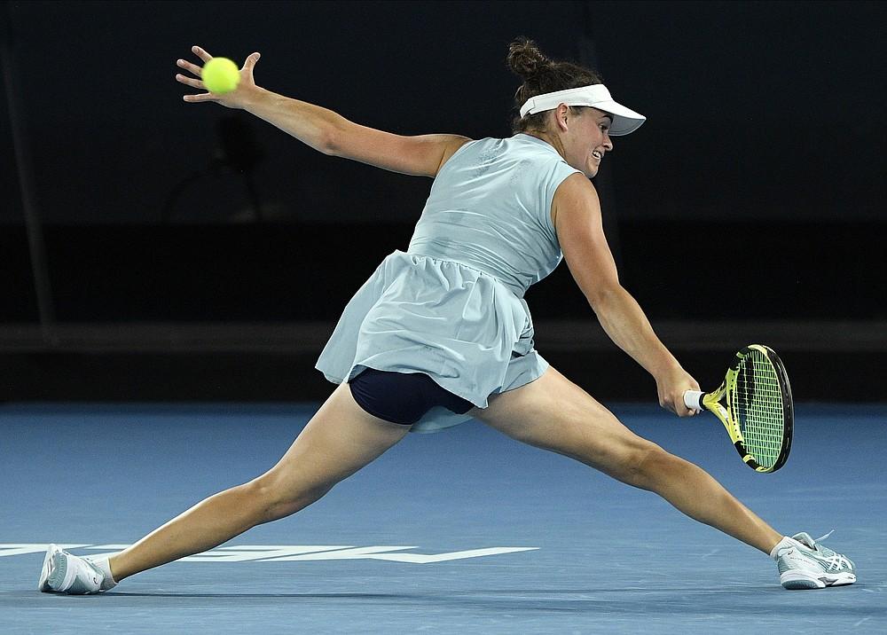 United States' Jennifer Brady hits a return to Japan's Naomi Osaka during the women's singles final at the Australian Open tennis championship in Melbourne, Australia, Saturday, Feb. 20, 2021.(AP Photo/Andy Brownbill)
