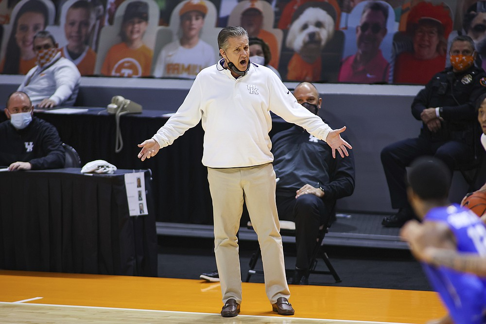 Kentucky head coach John Calipari reacts on the sideline during an NCAA college basketball game against Tennessee, Saturday, Feb. 20, 2021, in Knoxville, Tenn. (Randy Sartin/Pool Photo via AP)