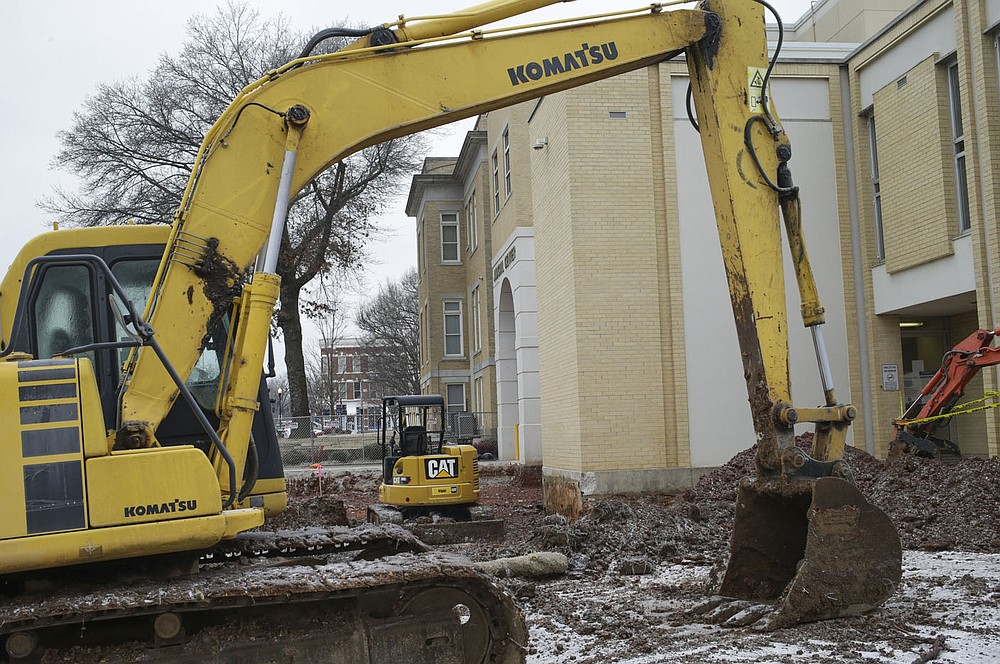 A construction site is shown, Thursday, February 11, 2021 at the Courthouse in Bentonville. Check out nwaonline.com/210212Daily/ for today's photo gallery.  (NWA Democrat-Gazette/Charlie Kaijo)