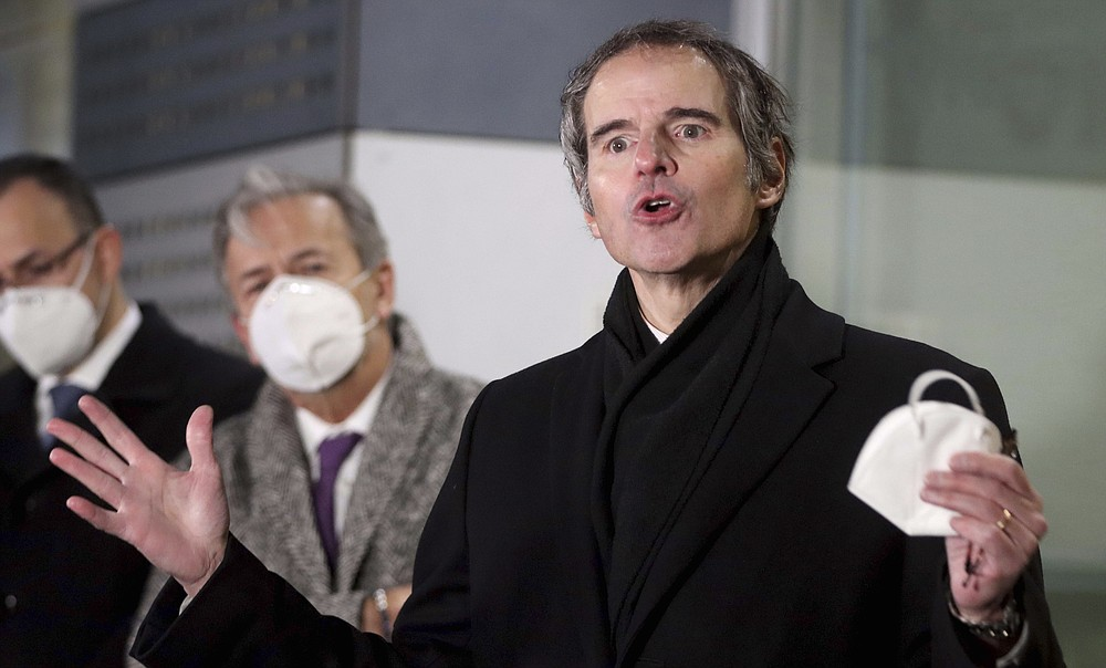 Director General of International Atomic Energy Agency, IAEA, Rafael Mariano Grossi from Argentina, speaks to the media after returning from Iran at the Vienna International Airport, Sunday, Feb. 21, 2021. (AP Photo/Ronald Zak)