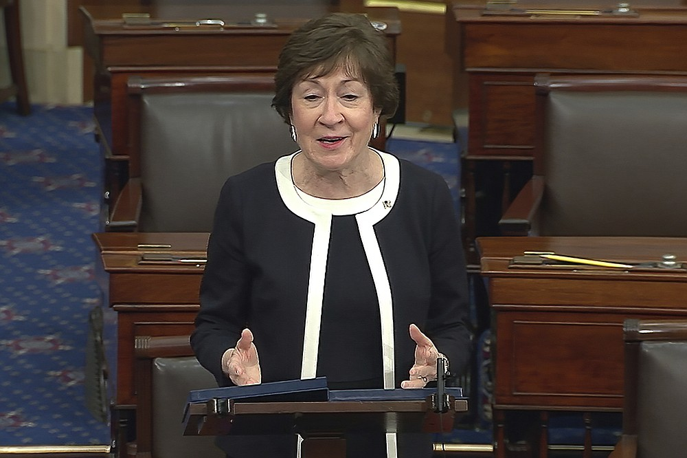In this image from video, Sen. Susan Collins, R-Maine, speaks after the Senate acquitted former President Donald Trump in his second impeachment trial in the Senate at the U.S. Capitol in Washington, Saturday, Feb. 13, 2021. Trump was accused of inciting the Jan. 6 attack on the U.S. Capitol, and the acquittal gives him a historic second victory in the court of impeachment. (Senate Television via AP)