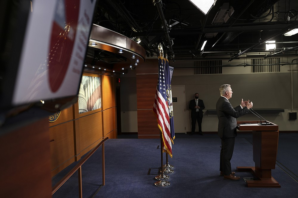 """At a news conference Friday, House Minority Leader Kevin McCarthy labeled as """"stupid"""" the Democrats' plan to penalize corporations for paying workers less than $15 an hour. (The New York Times/Oliver Contreras)"""