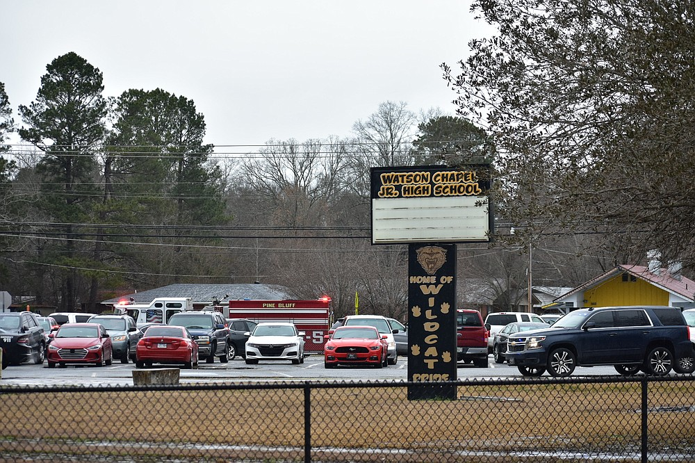 Watson Chapel Junior High School is pictured Monday, following an on-campus shooting that left a 15-year-old student hospitalized. (Pine Bluff Commercial/I.C. Murrell)