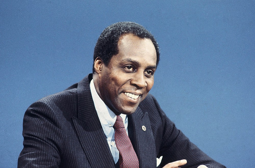 "FILE - In this Nov. 30, 1980 file photo, Vernon Jordan, of Urban League, appears on CBS-TV's ""Face the Nation.""  Jordan, who rose from humble beginnings in the segregated South to become a champion of civil rights before reinventing himself as a Washington insider and corporate influencer, died Tuesday, March 2, 2021, according to a statement from his daughter. He was 85. (AP Photo/Barry Thumma, File)"