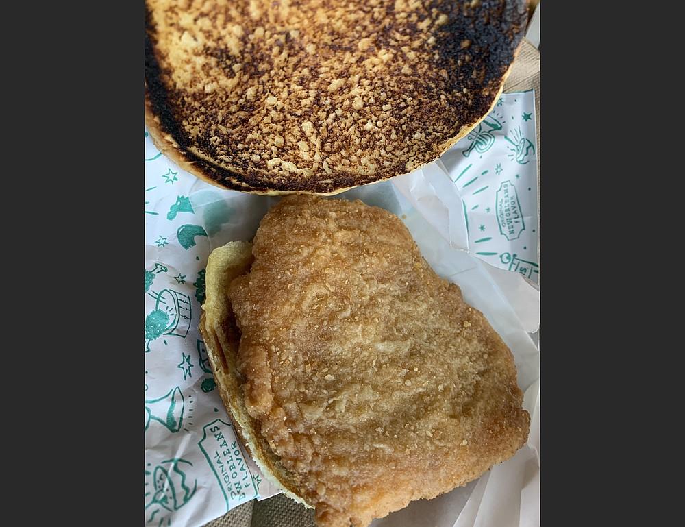 Popeyes' Cajun Flounder Sandwich doesn't quite capture the lightning in a pouch that was its highly successful chicken sandwich. (Arkansas Democrat-Gazette/Eric E. Harrison)