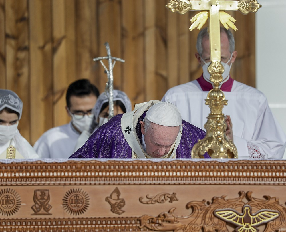 Pope Francis celebrates mass at the Franso Hariri Stadium in Irbil, Kurdistan Region of Iraq, Sunday, March 7, 2021. The Vatican and the pope have frequently insisted on the need to preserve Iraq's ancient Christian communities and create the security, economic and social conditions for those who have left to return.(AP Photo/Andrew Medichini)