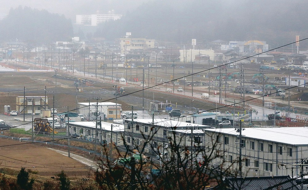 This file photo dated March 6, 2016 shows the reconstruction of the 2011 tsunami-ravaged residential area in Kesennuma, Miyagi Prefecture, northeastern Japan.  (AP Photo / Eugene Hoshiko, File)