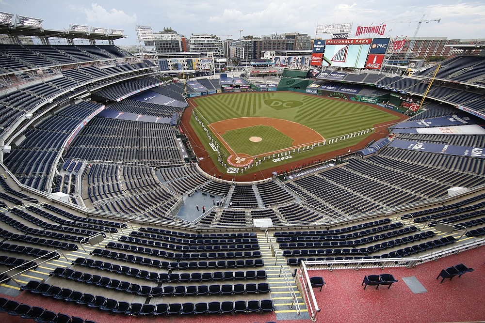 FILE - The New York Yankees and the Washington Nationals stand on the field before their opening day baseball game with no fans in the seats at Nationals Park in Washington, in this Thursday, July 23, 2020, file photo. Sports events held amid the coronavirus pandemic have become a whole different sort of spectacle when it comes to spectators. (AP Photo/Alex Brandon, File)