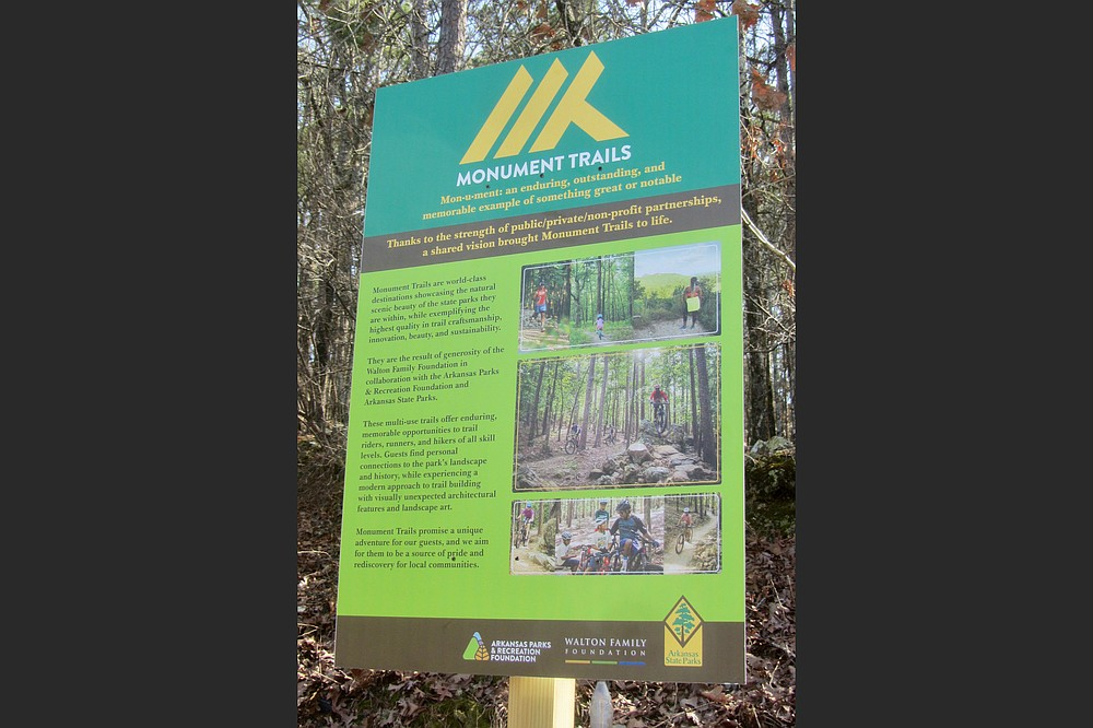 Signs at some trailheads explain Pinnacle Mountain State Park's new Monument Trails. (Special to the Democrat-Gazette/Marcia Schnedler)