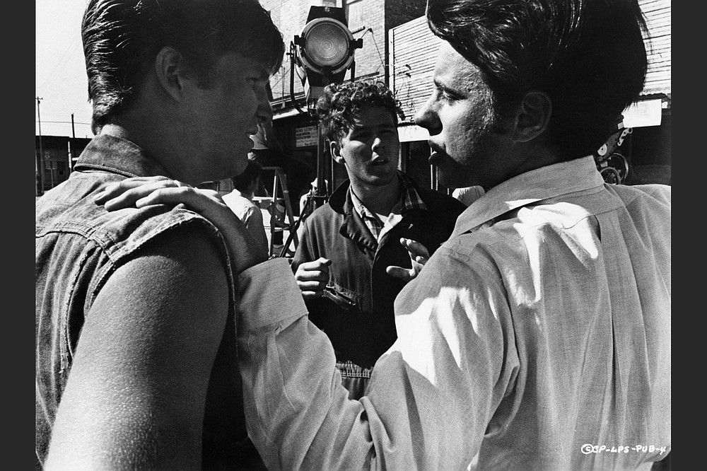 """Peter Bogdanovich (right) directs 21-year-old Jeff Bridges (left) and 19-year-old Timothy Bottoms in """"The Last Picture Show."""""""