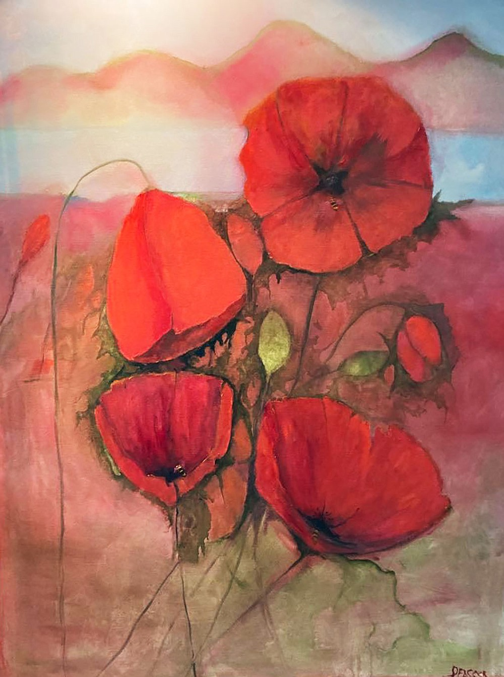 """""""Poppy Field,"""" an oil on canvas by Carol Peacock, is also on show in """"Flower Power.""""  (Courtesy Image/Carol Peacock)"""