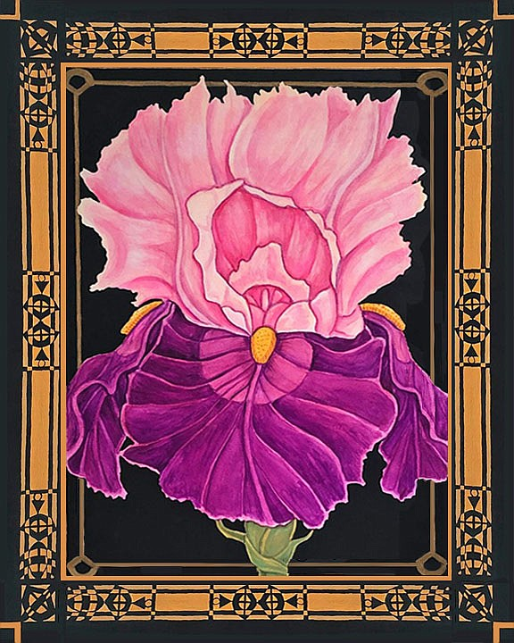 """""""Glowing"""" by Zeek Taylor is, he says, one of a long series of iris paintings that he has done. """"I never get tired of painting irises, and the Brews exhibition is the perfect springtime show.""""  (Courtesy Image/Zeek Taylor)"""
