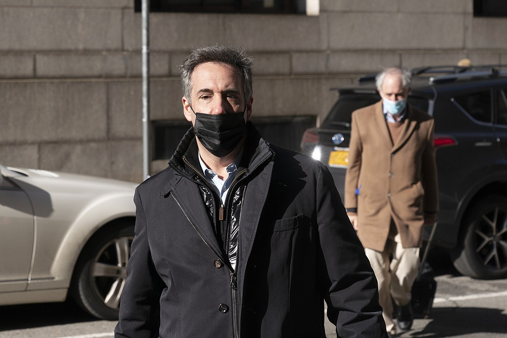 Michael Cohen, former personal attorney for Donald Trump, arrives at the Manhattan District Attorney's office, Friday, March 19, 2021, in New York. (AP Photo/Mark Lennihan)