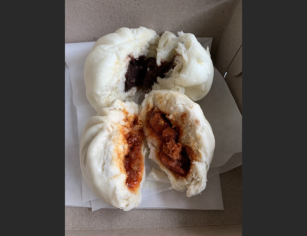 Kawaii Boba House in Little Rock's Pulaski Heights offers several kinds of bao — Chinese buns — including Bao Red Bean (top) and Bao Korean BBQ. (Arkansas Democrat-Gazette/Eric E. Harrison)