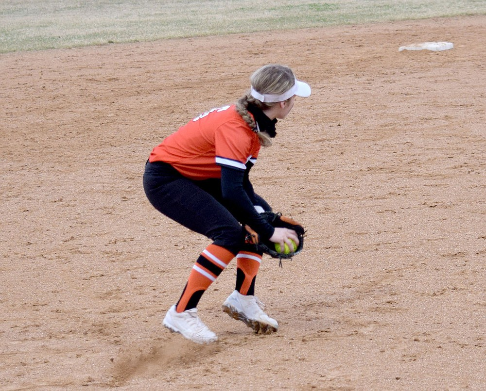 Westside Eagle Observer/MIKE ECKELS After picking off a ground ball to third base, Lizzy Ellis gets ready to throw to second base during the Gravette-Springdale softball contest at Lion Softball Field in Gravette March 12. Ellis made the play for the first of two outs which resulted in a double play.