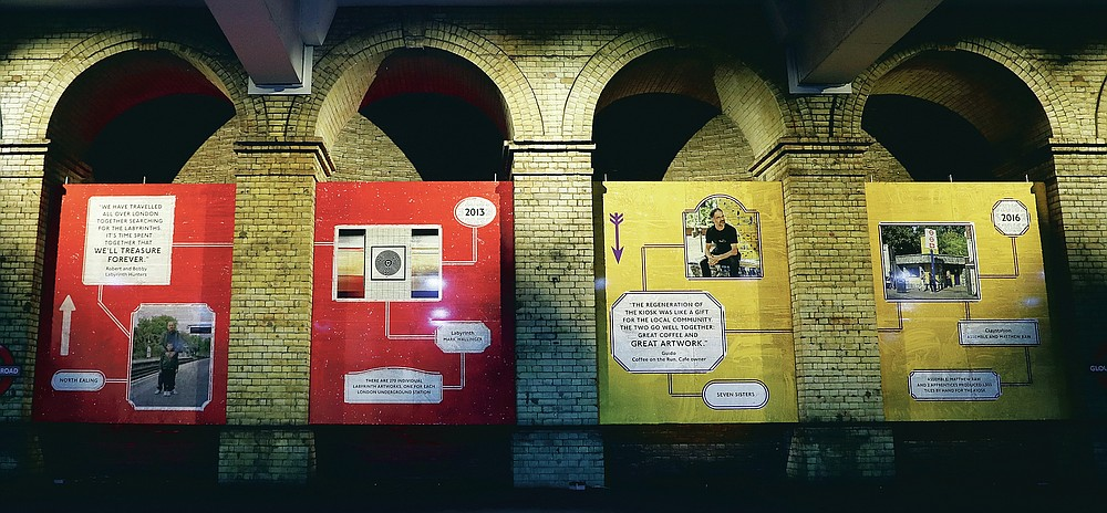 Information about an Art on the Tube project is displayed at Gloucester Road Underground station in London, Friday, March 12, 2021. (AP Photo/Alastair Grant)
