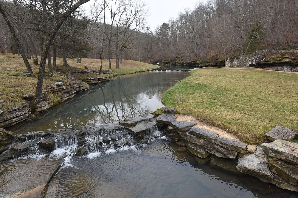 Two streams flow through the manicured grounds at the 10,000-acre park. (NWA Democrat-Gazette/Flip Putthoff)