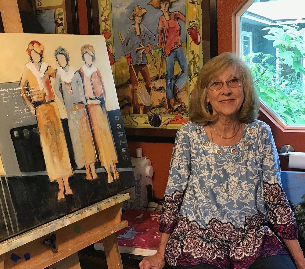 """Artist Carol Hart says she paints five days a week, some very long days, others just a couple of hours. """"I usually have a painting on my easel that I am currently working on and a few propped against the wall waiting to see if they are finished.""""  (Courtesy Photo)"""