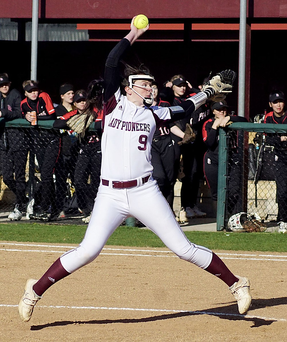 Westside Eagle Observer/RANDY MOLL Gentry's star pitcher, Kyleigh Wheaton, not only strikes out many batters in each game, but she also hit home runs in both of Gentry's games last week.