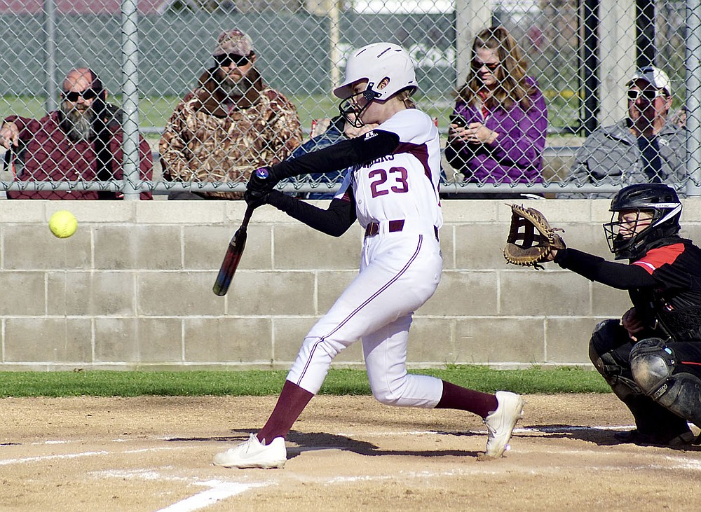 Westside Eagle Observer/RANDY MOLL Gentry's catcher, Taylor Norman, takes a cut at a pitch during play against Pea Ridge in Gentry on March 31, 2021.