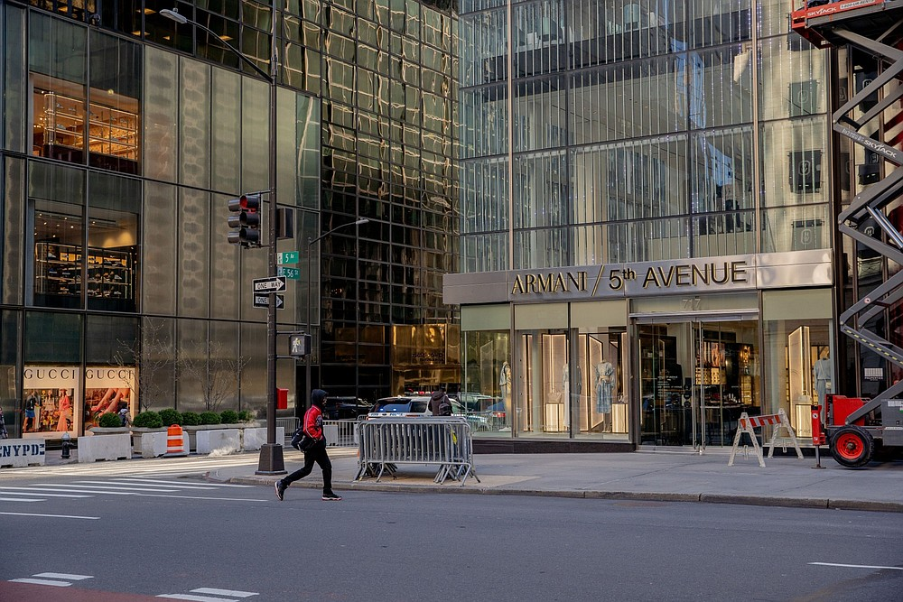 Giorgio Armani's boutique and restaurant at 56th Street and Fifth Ave in New York on March 30, 2021. MUST CREDIT: Bloomberg photo by Amir Hamja.