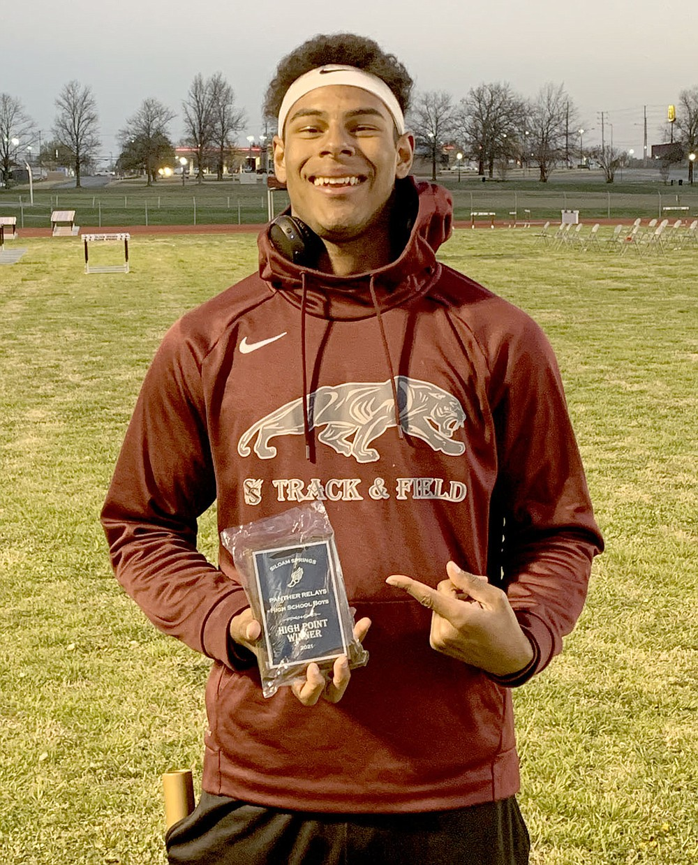 Photo submitted Siloam Springs senior Keegan Soucie was the boys high-point award winner from the Siloam Springs Panther Relays held on April 1 at Glenn W. Black Stadium.