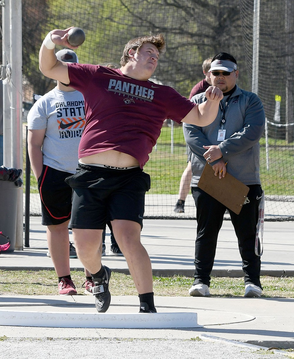 Bud Sullins/Special to the Herald-Leader Siloam Springs junior Jace Sutulovich throws the shot during the Panther Relays on April 1 at Glenn W. Black Stadium.