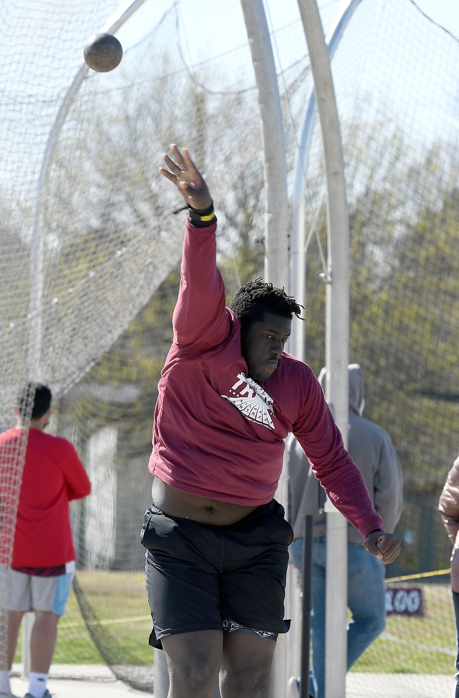 Bud Sullins/Special to the Herald-Leader Standley Theoc throws the shot during the Panther Relays on April 1 at Glenn W. Black Stadium.
