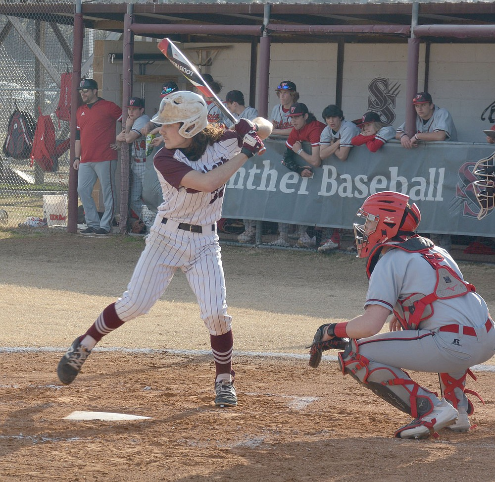 Graham Thomas/Herald-Leader Siloam Springs senior Elijah Coffey bats against Vilonia in the Panthers' first conference game against Vilonia on March 10.