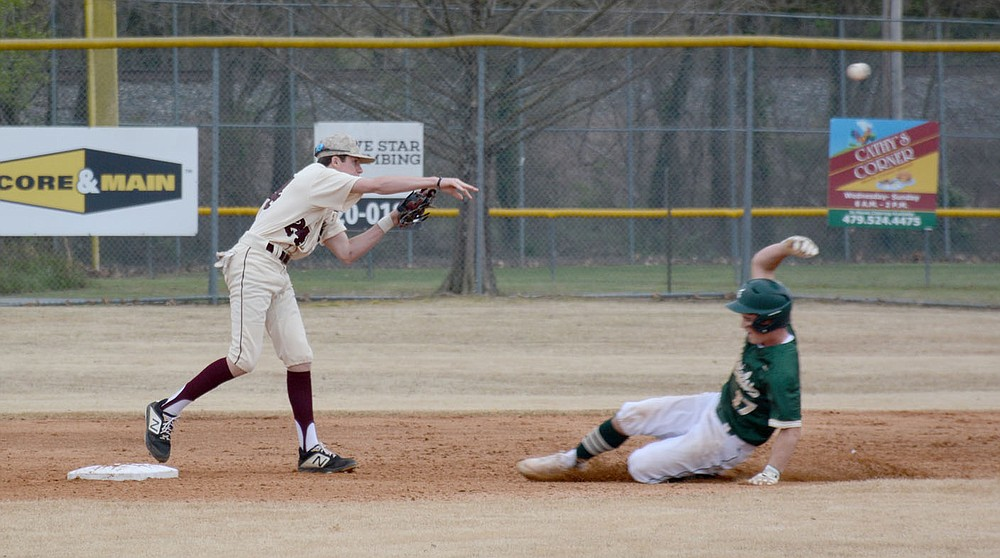 Graham Thomas/Herald-Leader Siloam Springs sophomore second baseman Nick Driscoll throws to first against Alma on March 30.