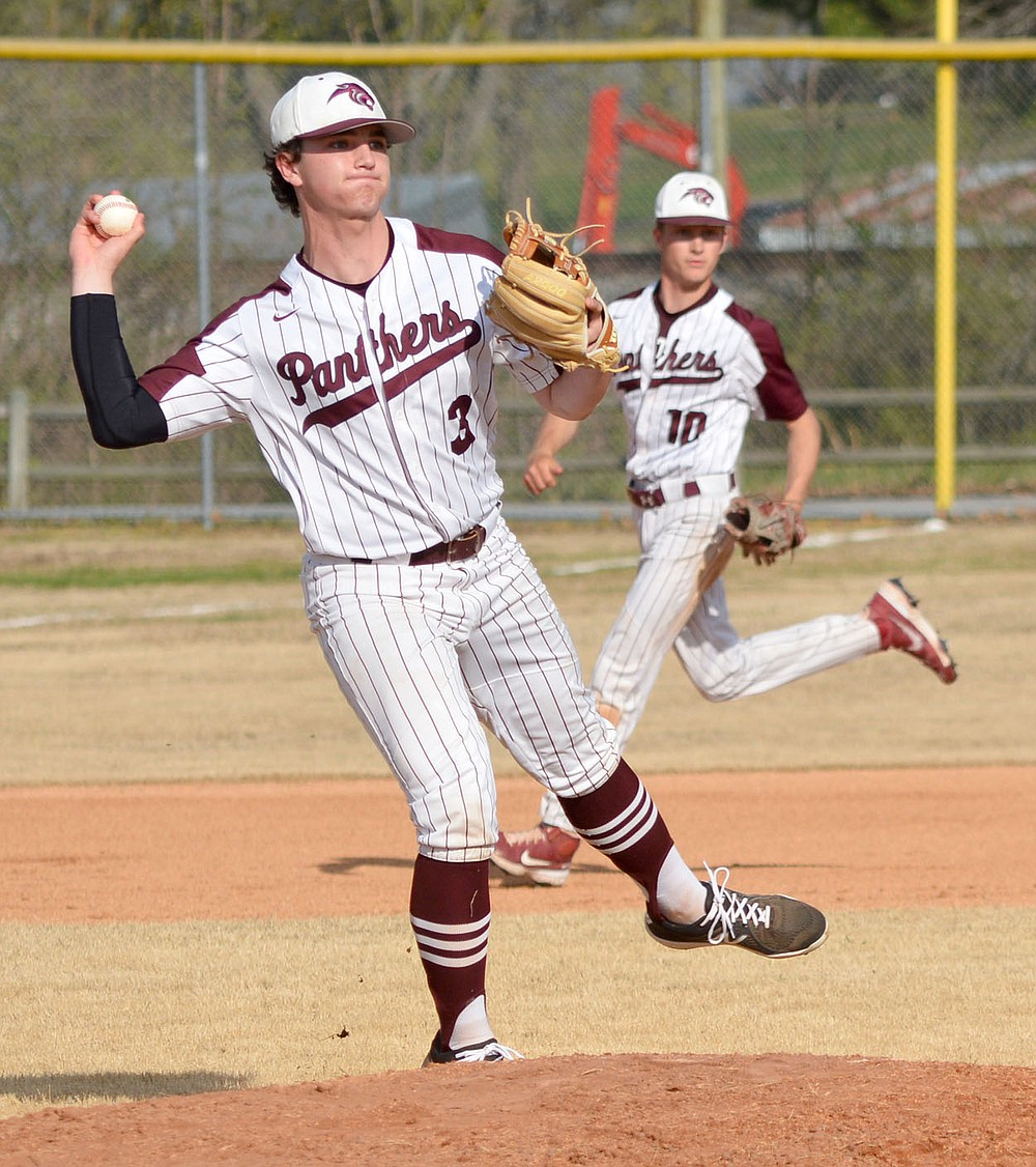 Graham Thomas/Herald-Leader Siloam Springs third baseman Andrew Pilcher makes a play on a ground ball against Morrilton on Monday. The Panthers defeated the Devil Dogs 11-1 in five innings.