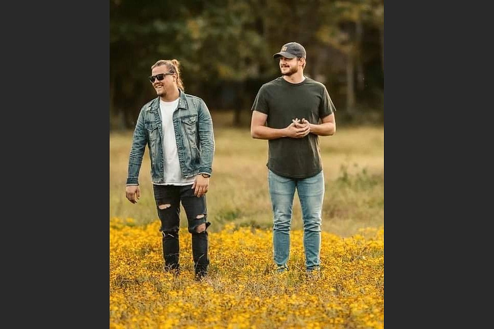 Country-rock band Hayefield, formed by Trey Lamberth (left) and Taylor Hyatt in 2019, plays Saturday at Stickyz in Little Rock. (Special to the Democrat-Gazette)