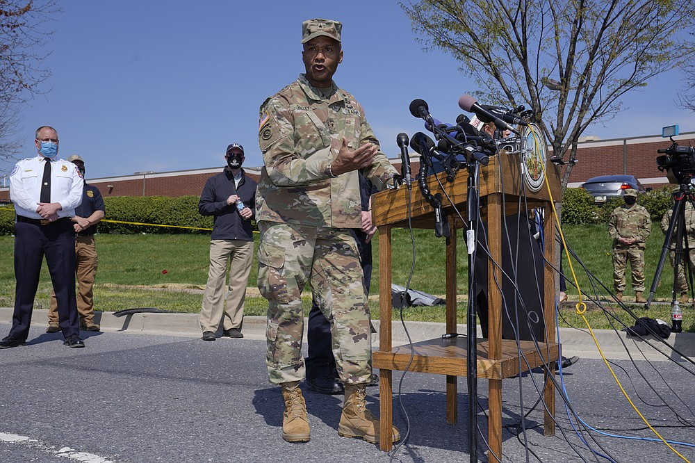 Brig. Gen. Michael J. Talley, commander of U.S. Army Medical Research and Development Command and Fort Detrick, Md., speaks during a news conference near the scene of a shooting at a business park in Frederick, Md., Tuesday, April 6, 2021. (AP Photo/Carolyn Kaster)
