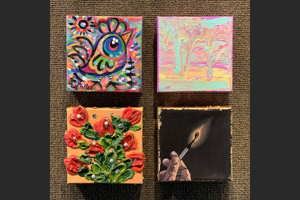 Artworks by (clockwise from top left) Beth Hubbert of Sherman, Texas; Hayden White of Strong; Patricia Lowery of El Dorado; and Michaela Wise of Parkers Chapel are among the 60 pieces, 5x5 inches, up for grabs at the South Arkansas Arts Center's May 5 5x5 Art Dash fundraiser. (Special to the Democrat-Gazette)