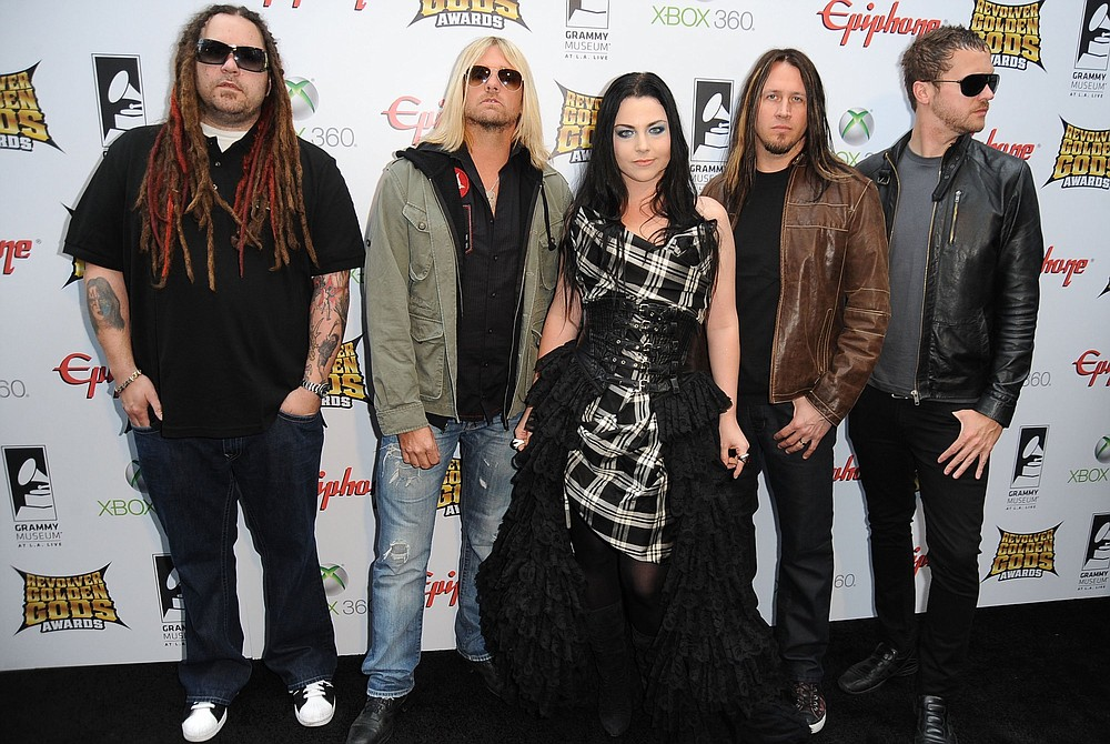 """Evanescence arrives at the 2012 Revolver Golden Gods Award Show at Club Nokia in Los Angeles. This year Evanescence will release """"The Bitter Truth,"""" its first album of new material since 2011. (Getty Images/TNS/Frazer Harrison)"""
