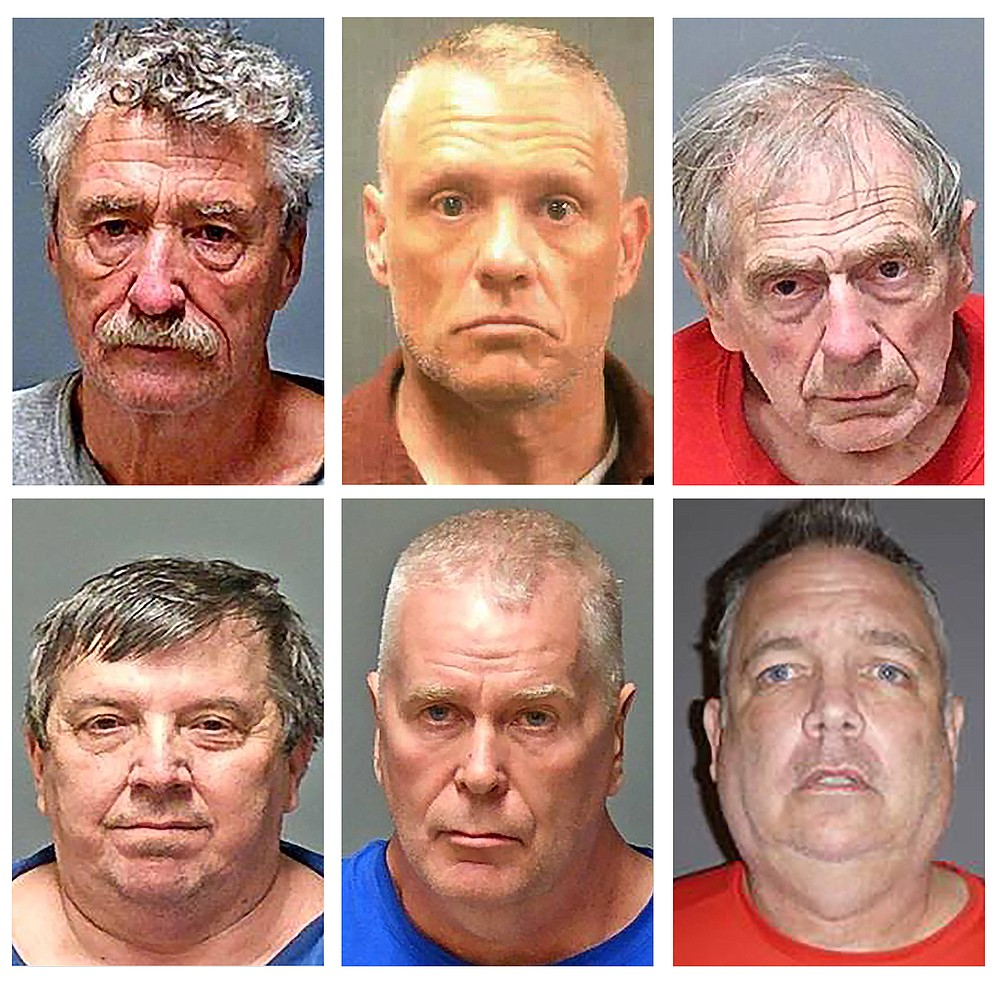 This combo of undated handout booking photo provided by the New Hampshire Attorney General's office shows, from top row left, Bradley Asbury, Jeffrey Buskey and Frank Davis; bottom row from left, Lucien Poulette, James Woodlock and Stephen Murphy. The six men were arrested Wednesday, April 7, 2021, in connection with sexual abuse allegations at New Hampshire's state-run youth detention center, the attorney general's office said. (New Hampshire Attorney General's Office via AP)